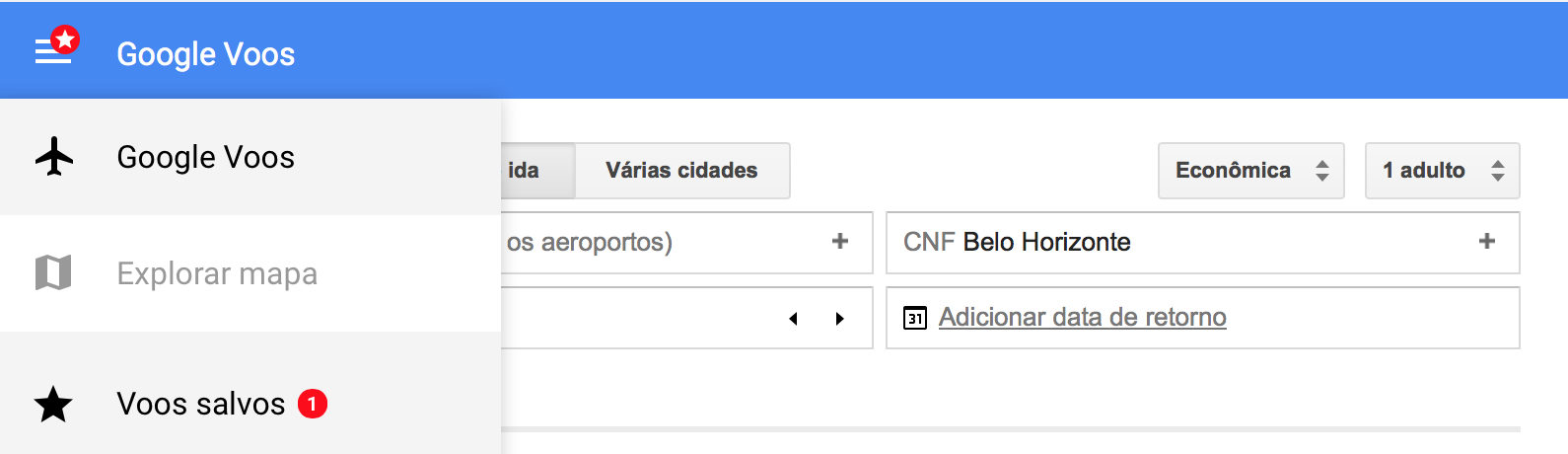 Google Flights Salvar Vôos