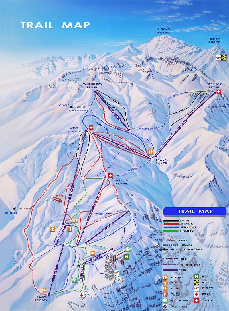 Mapa das Pista do Valle Nevado