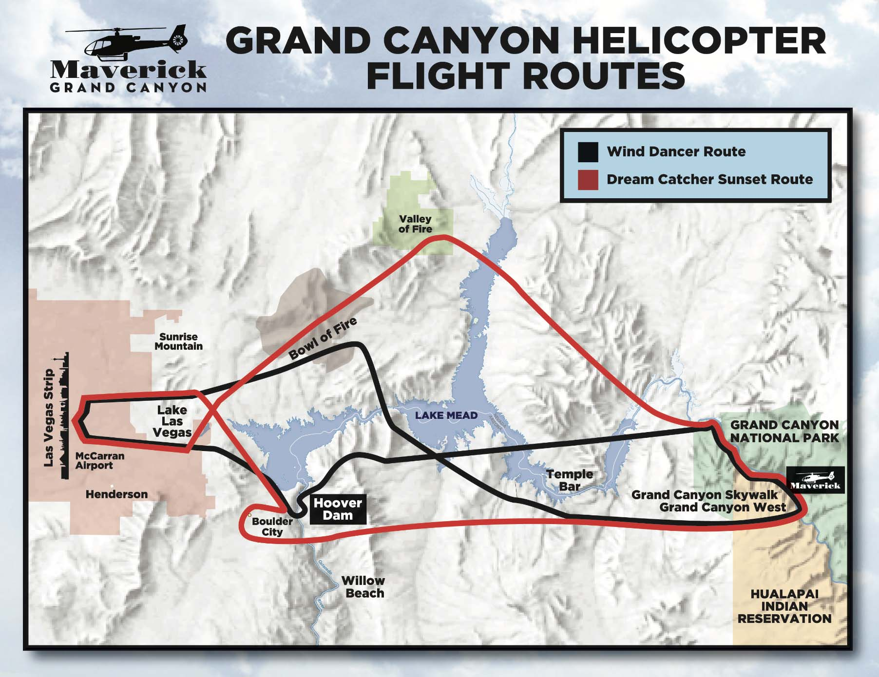 mapa da rota do voo sobre o Grand Canyon