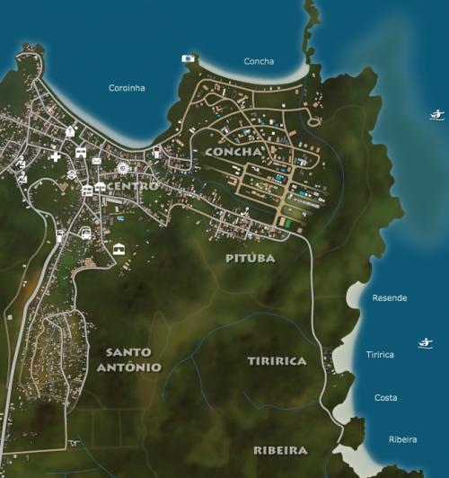 mapa mostrando itacare e onde se hospedar em itacare