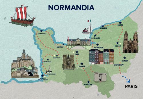 mapa de rotas na Normandia