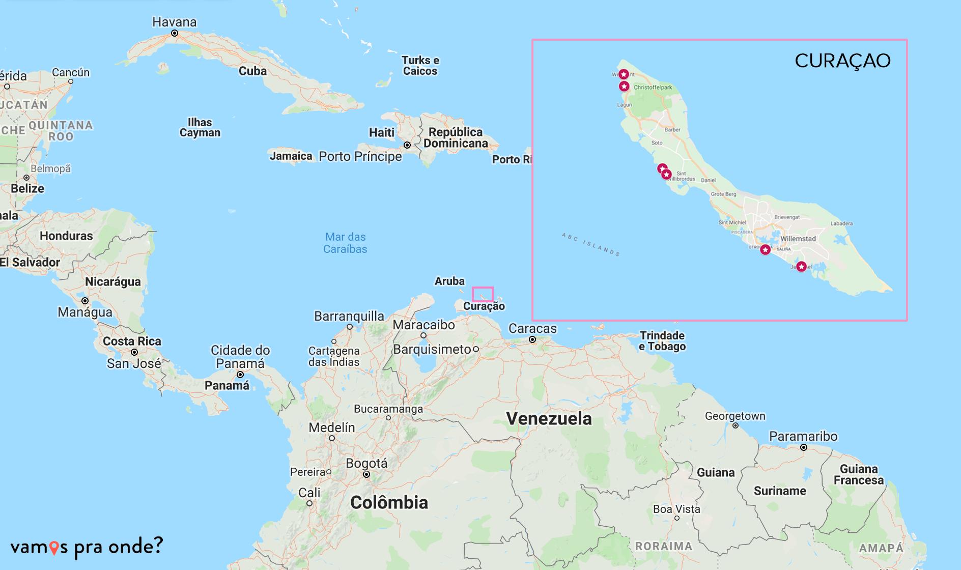 curaçao no mapa