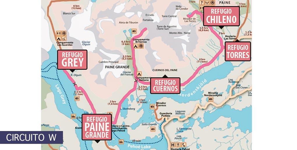 mapa circuito W em torres del Paine