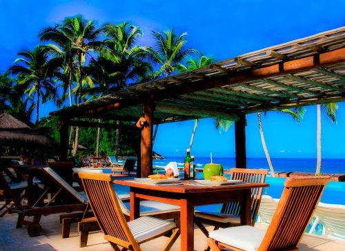 almoço com vista linda da praia