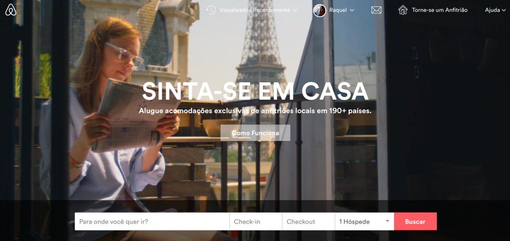 página inicial do airbnb