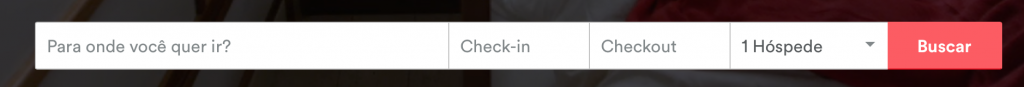 Campo de busca por hospedagem no Airbnb
