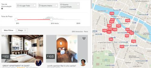 Mapa do Airbnb
