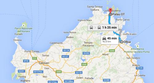 Mapa olbia la Maddalena