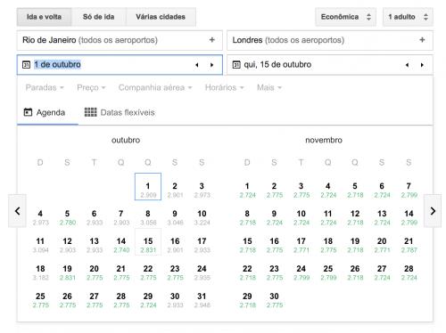 Google Flights preços