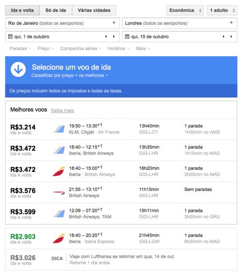 Busca por passagem pelo Google Flights