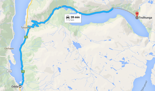 Trolltunga no mapa