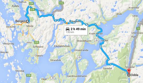 Mapa de Bergen para Odda