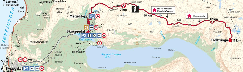 mapa da trilha para trolltunga