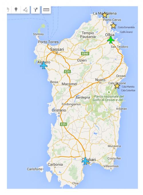 Mapa Sardenha em detalhes