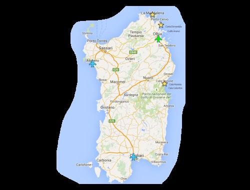 mapa detalhado da sardenha