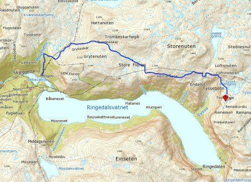 mapa mostrando o trajeto para chegar na pedra trolltunga