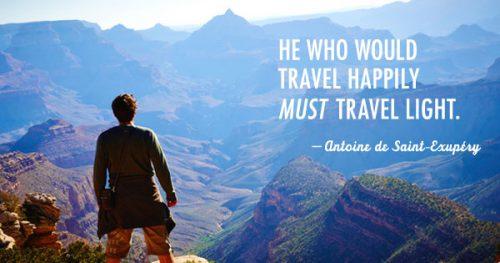 dizer sobre viajar com mala pequena