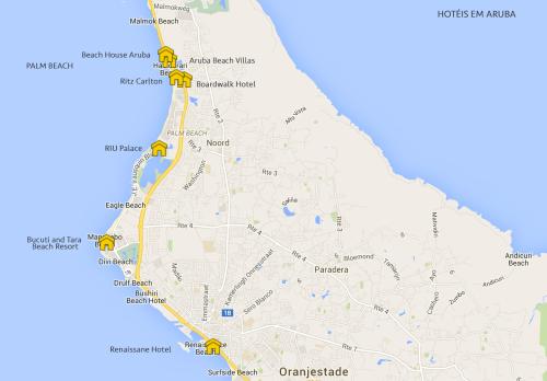 Mapa de Hotéis em Aruba