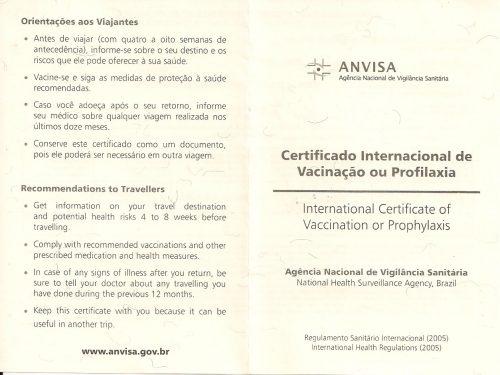 Carteira de Vacina Internacional