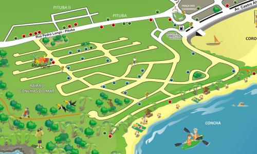 mapa mostrando onde se hospedar em itacaré