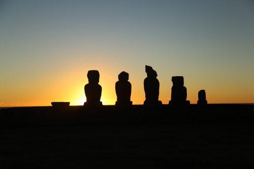Pôr do sol na Ilha de Páscua