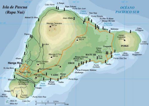 Ilustração da Ilha indicando os 3 vulcões de Rapa Nui