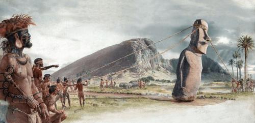 Suposição de como eram levados os Moai aos Ahu pelos Rapa Nui