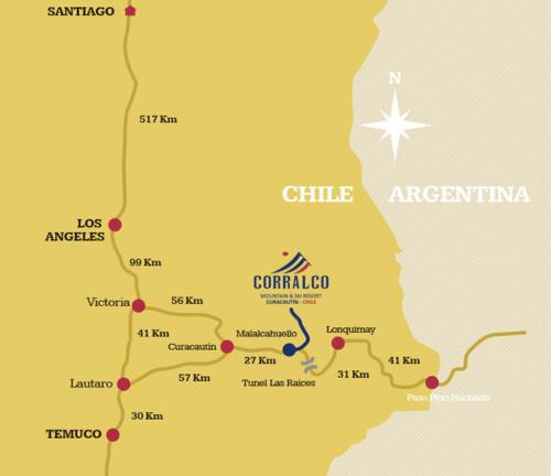mapa da localização de corralco