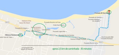 Mapa dos restaurantes em são miguel do Gostoso