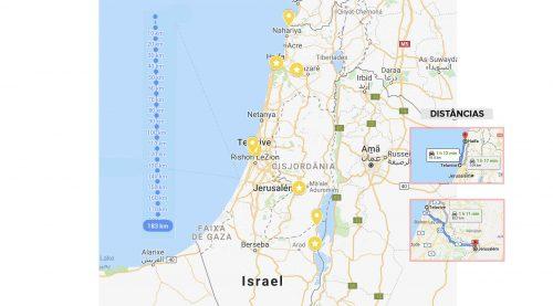 mapa de israel com distancias