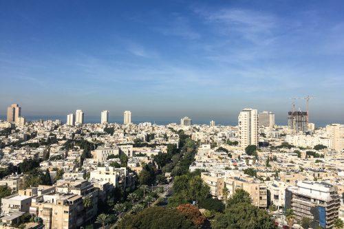 Vista de um rooftop em Tel Aviv