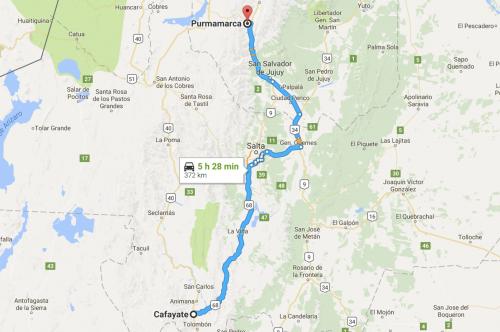 caminho no mapa: de Cafayate para Pumamarca, no norte da argentina