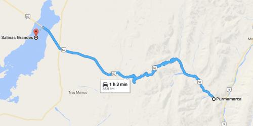 caminho no mapa: de Pumamarca para Salinas, no norte da argentina