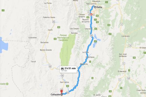 caminho no mapa: de salta a Cayate, no norte da argentina