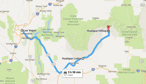 Mapa para a Havasu Falls