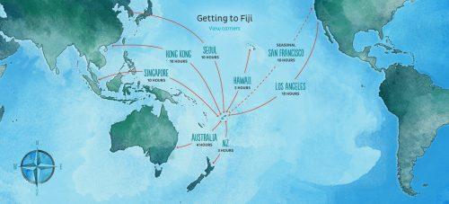mapa mostrando como chegar em Fiji