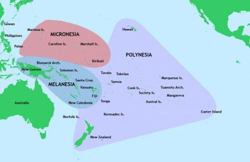Polinesia Francesa no mapa