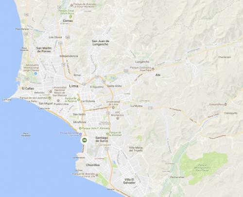 Mapa de Lima, no Peru