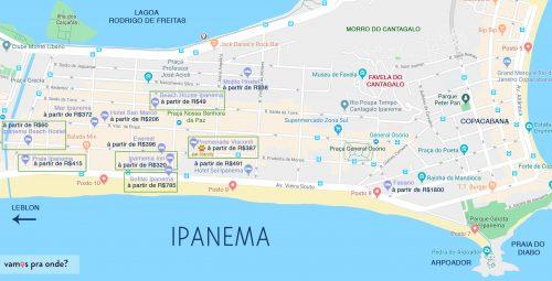 mapa onde se hospedar no rio de janeiro ipanema