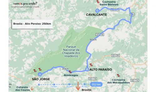 mapa da chapada dos veadeiros