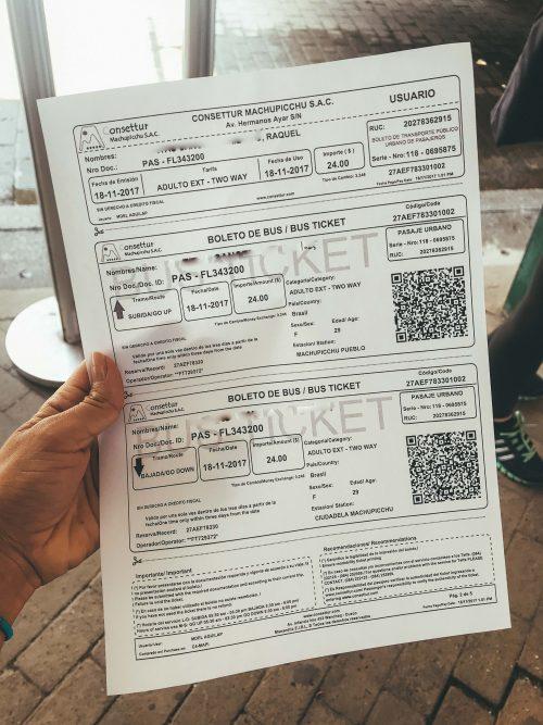 como chegar a Machu Picchu: ticket do ônibus