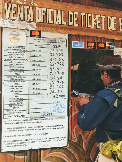 como chegar a Machu Picchu: preço do ônibus