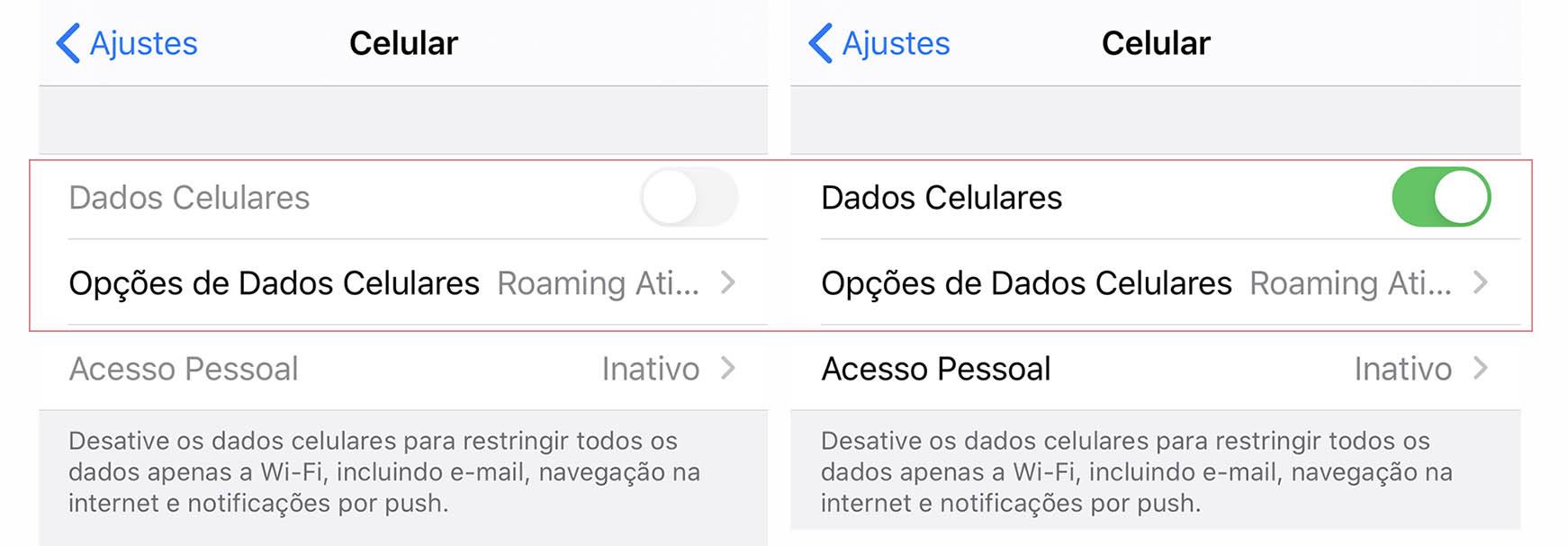 ativação de roaming para internet no exterior