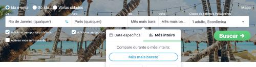 skyscanner com a opção de busca por mês mais barato