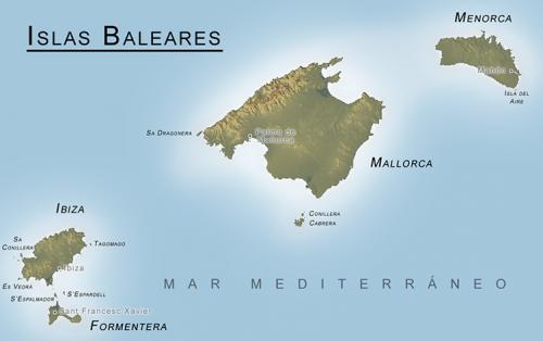 mapa ilhas baleares - ibiza, Maiorca e menorca