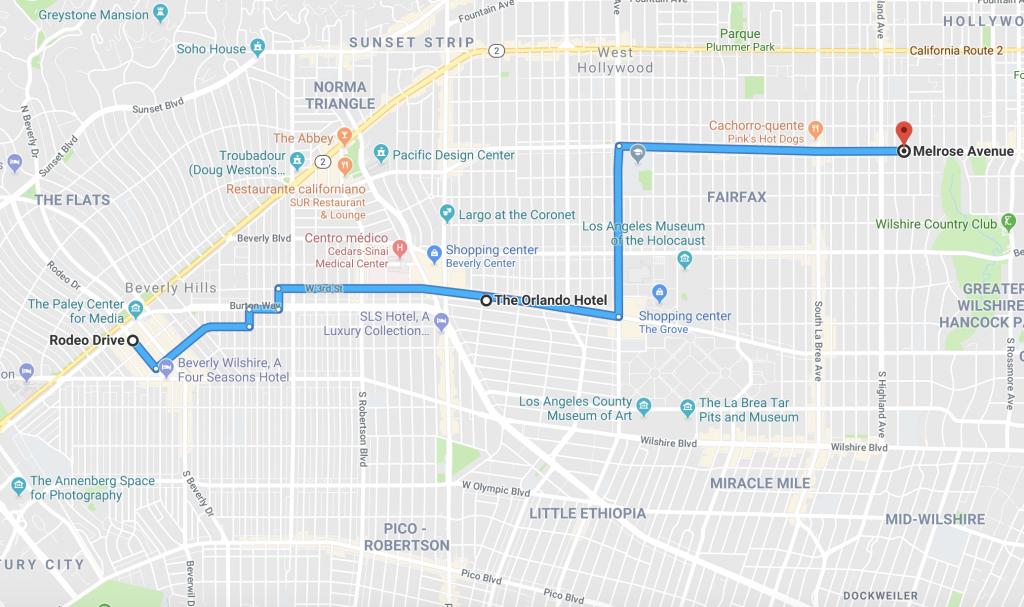 mapa da localização de hotel em Los Angeles - sul da California
