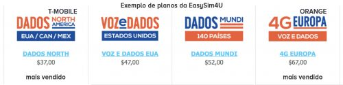 exemplo de planos do chip internacional da EasySim4U