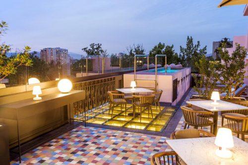 OndeFicarEmSantiago - Área externa e piscina do Hotel Luciano K
