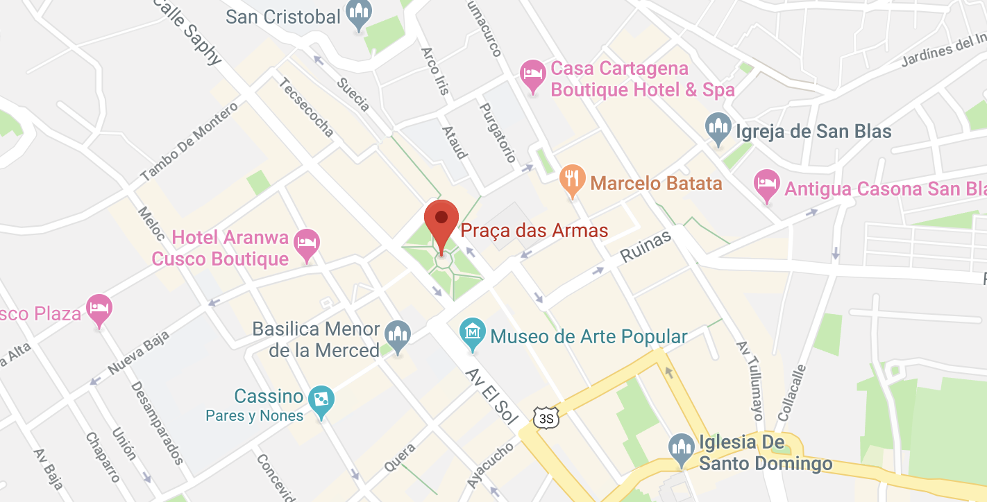Mapa da Praça de Armas - dica de onde ficar em Cusco