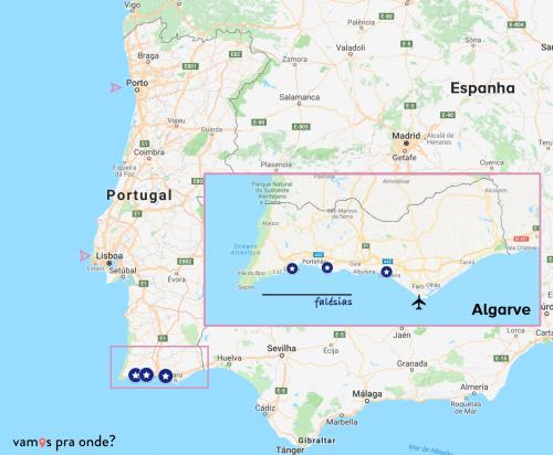 mapa mostrando a localização do algarve e das falésias